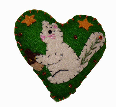 Squirrel Felt Ornament Heart