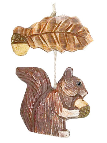 Squirrel and Leaf Wooden Ornament