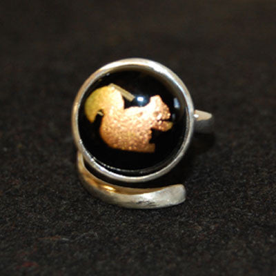 Sterling Silver and Glass Squirrel Ring