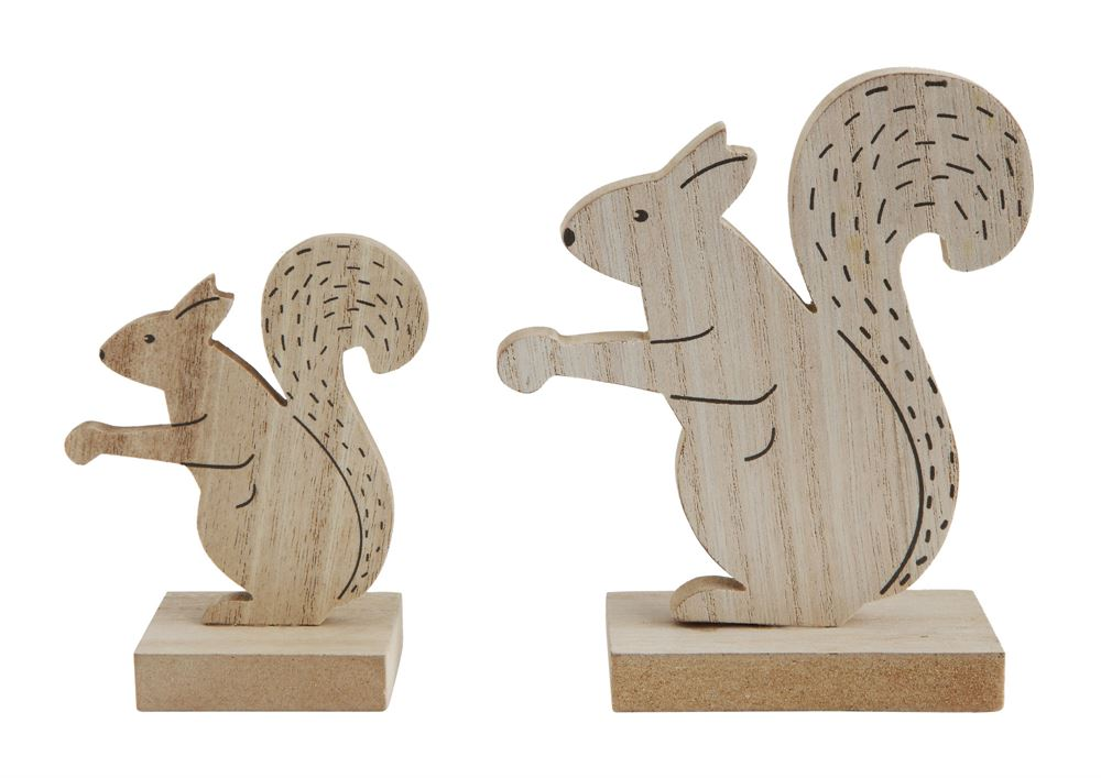 Miniature Wooden Squirrel Statues