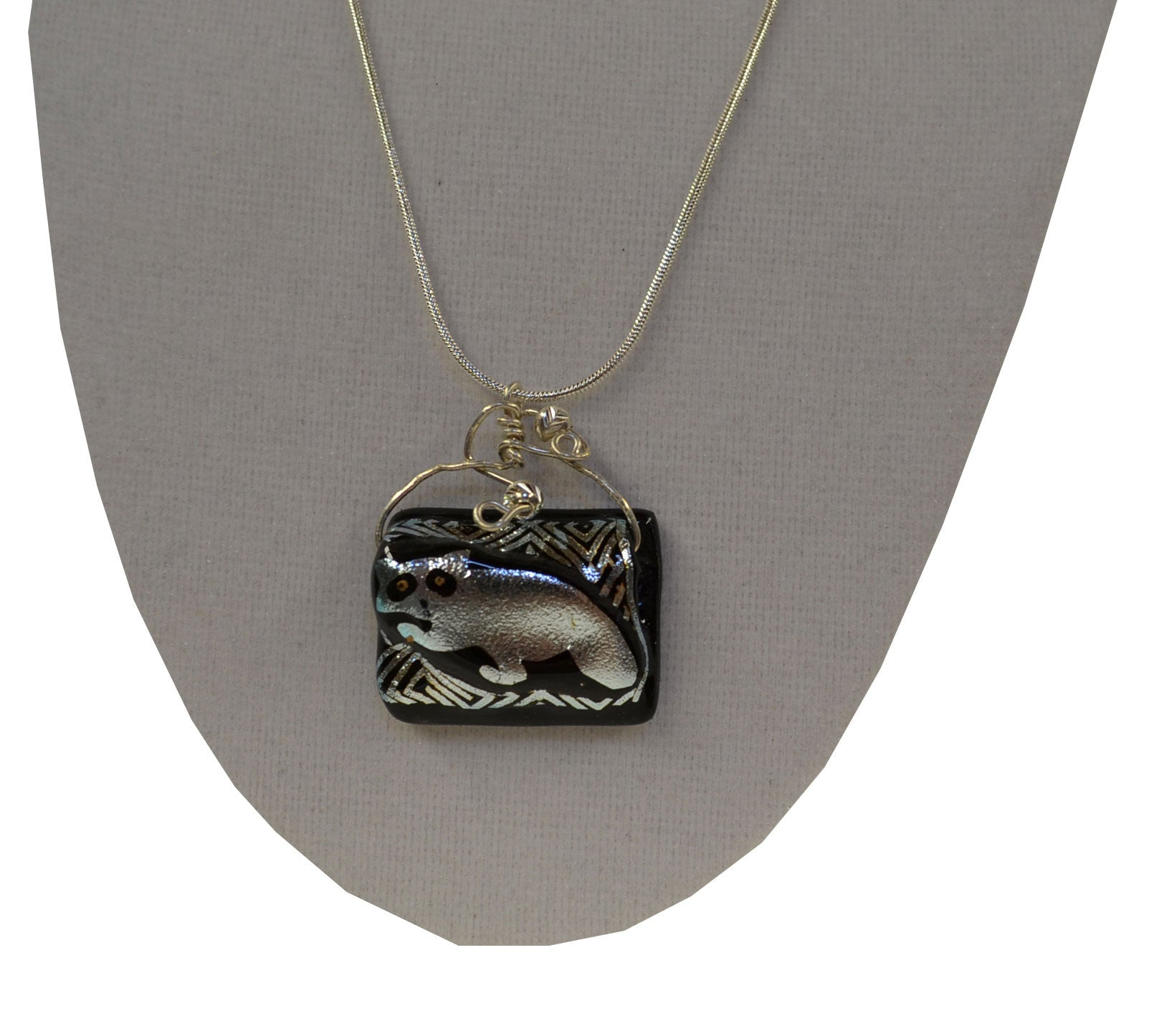 Zig Zag Glass Raccoon Necklace - Squirrels and More