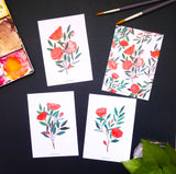 Roses and leaves postcard set