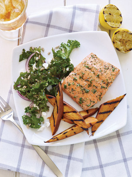 Grilled Salmon and Sweet Potatoes with Kale Post Workout Recipe