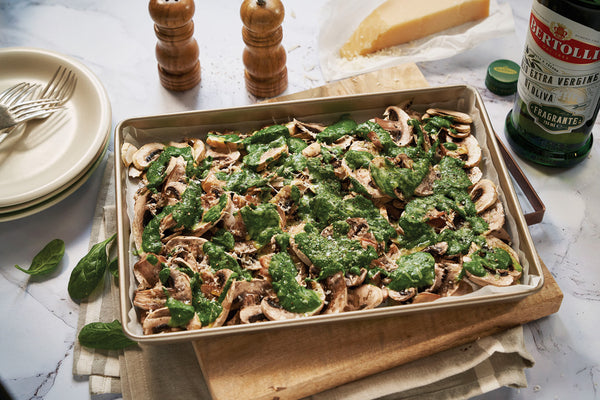 Mushroom Carpaccio and Creamed Spinach Au Gratin Recipe