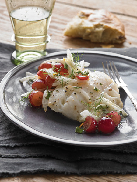 Roasted Cod with Fennel and Grapes Recipe