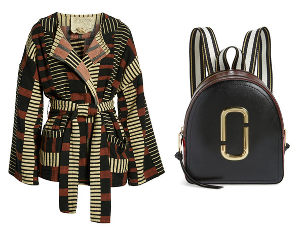 Ace & Jig cardigan and Marc Jacobs Leather Backpack