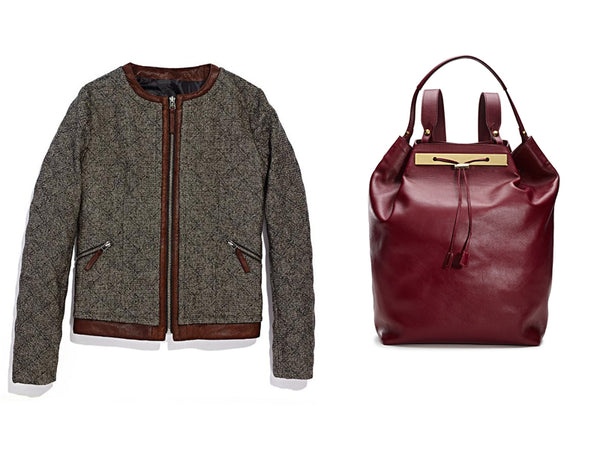 Tweed Bomber and Maroon Leather Backpack