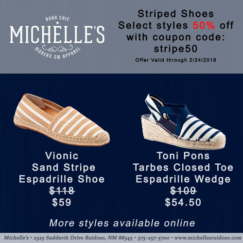 Save 50% on select striped shoes this week only.