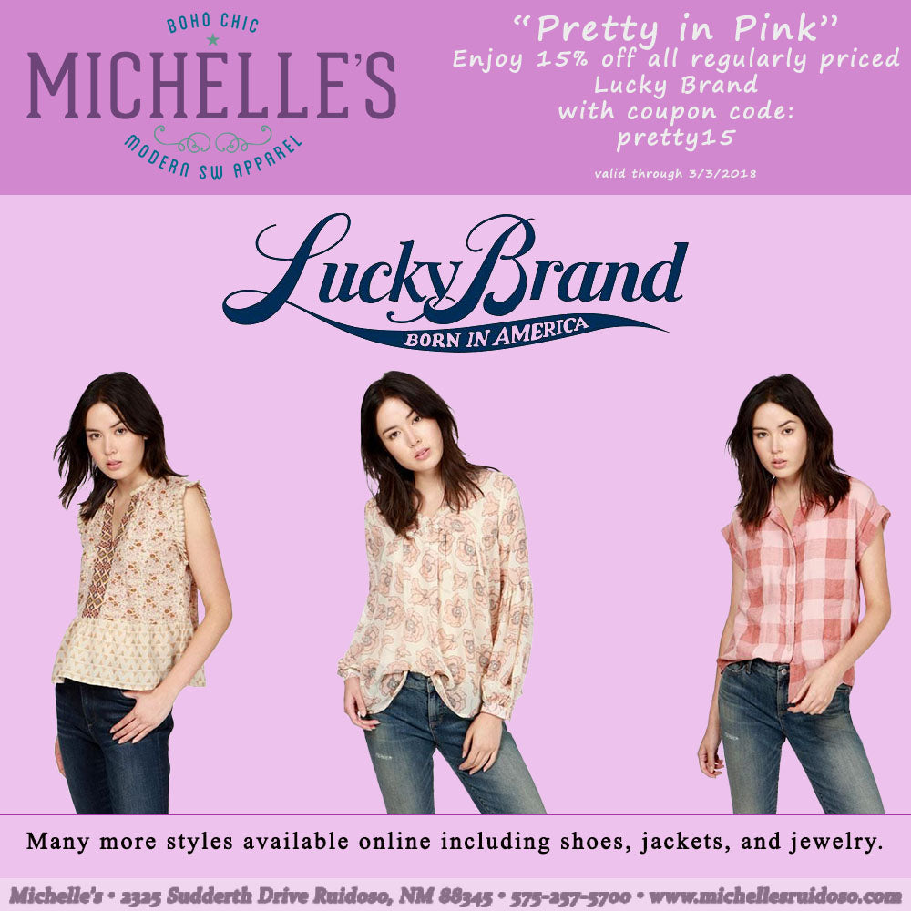 15% off all regularly priced Lucky Brand!