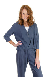 3/4 Sleeve Gauze Top in Midnight