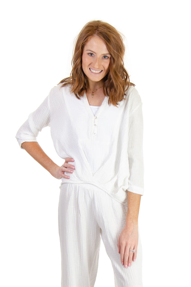 3/4 Sleeve Gauze Top in Eggshell