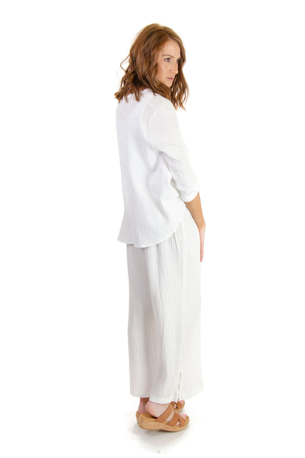 High Waisted Gauze Pants in Eggshell