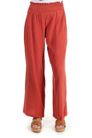 High Waisted Gauze Pants in Dusty Rose