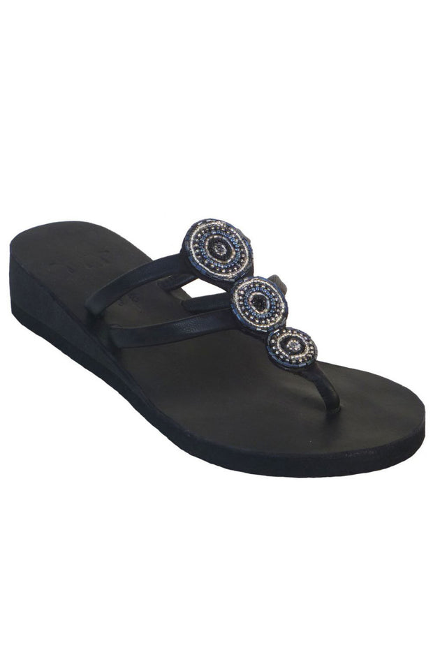 Global Girls - 3 Bears Mini Medallion Wedge in Black (Black)