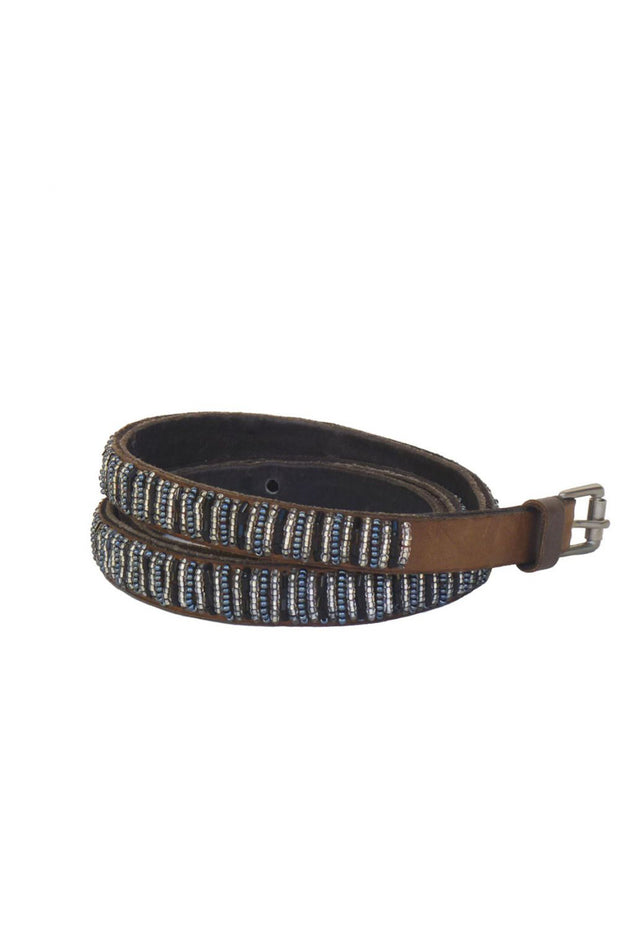 Global Girls - Skinny Beaded Leather Belt in Black (BS1)