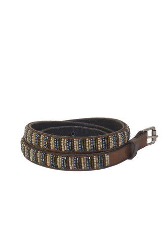Global Girls - Skinny Beaded Leather Belt in Brown (BS1)
