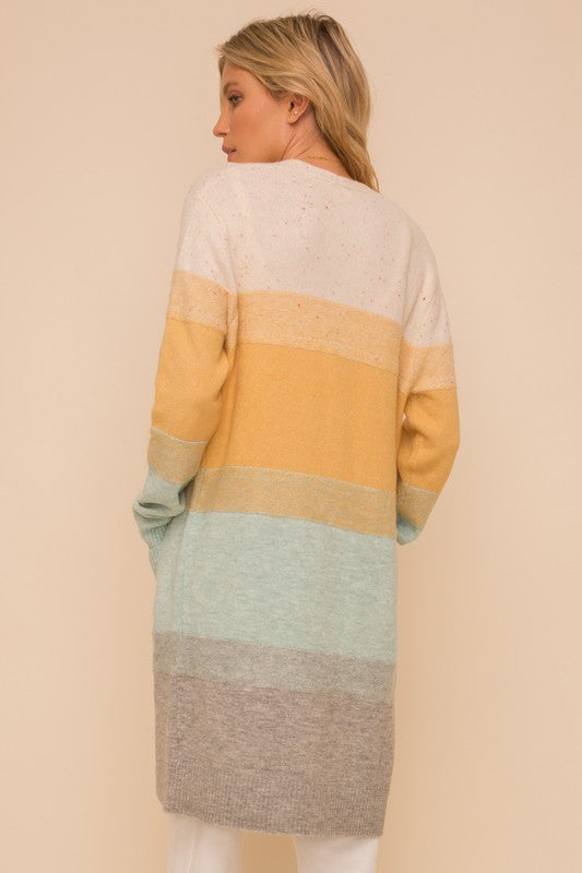 Color Block Cardigan in Ivory/mustard