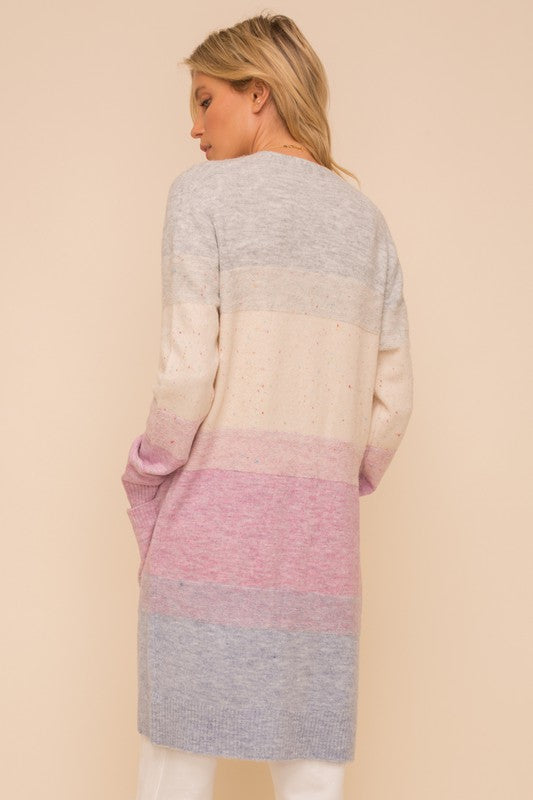 Color Block Cardigan in Grey/lavender