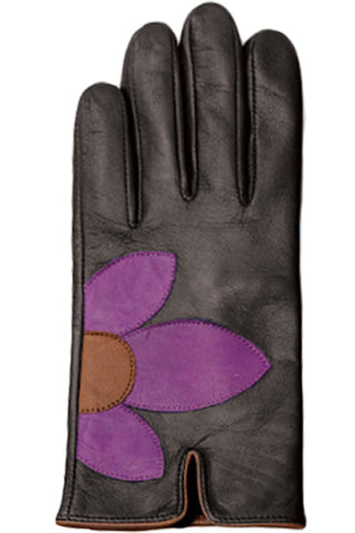 ILI - Flower Petal Leather Gloves in Black/purple (8091)