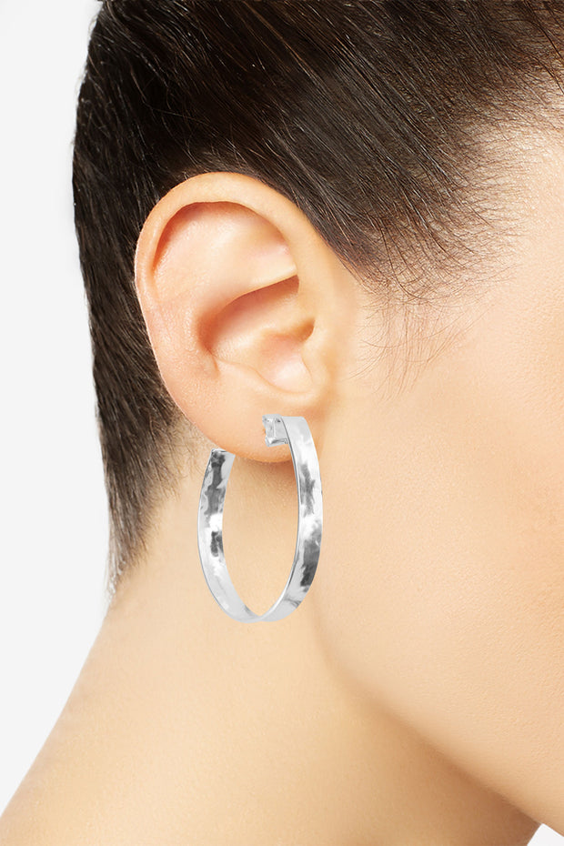 Hammered Hoop Earrings in Silver