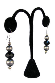 Rocki Gorman - French Wire Silver/Onyx Earrings  (AQE12-BL)