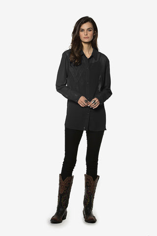Double D Ranch - Grass Rope Blouse in Black (T3149)