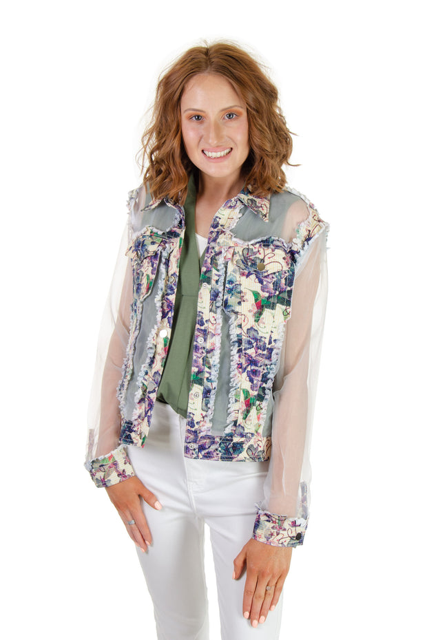Adore - Mixed Media Floral Jacket in White (A7217-4)