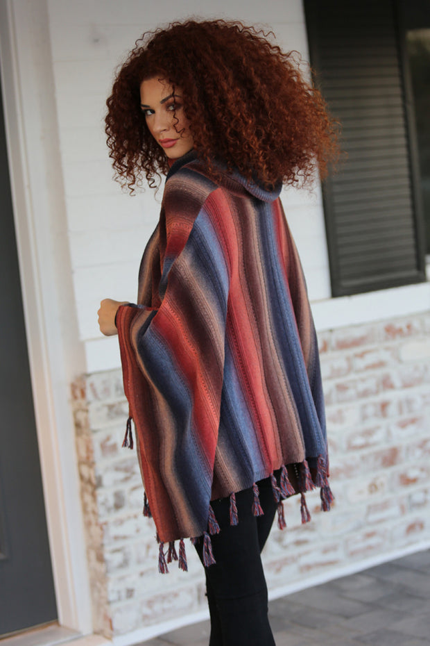 Striped Poncho Top