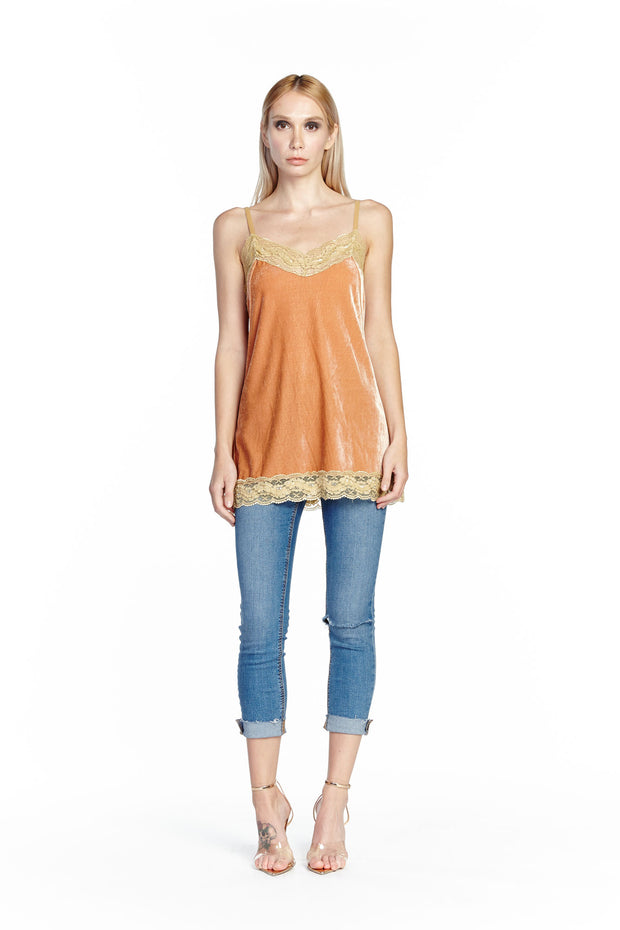 Aratta - Velvet Dreams Cami in Peach (ED19ABC17D)
