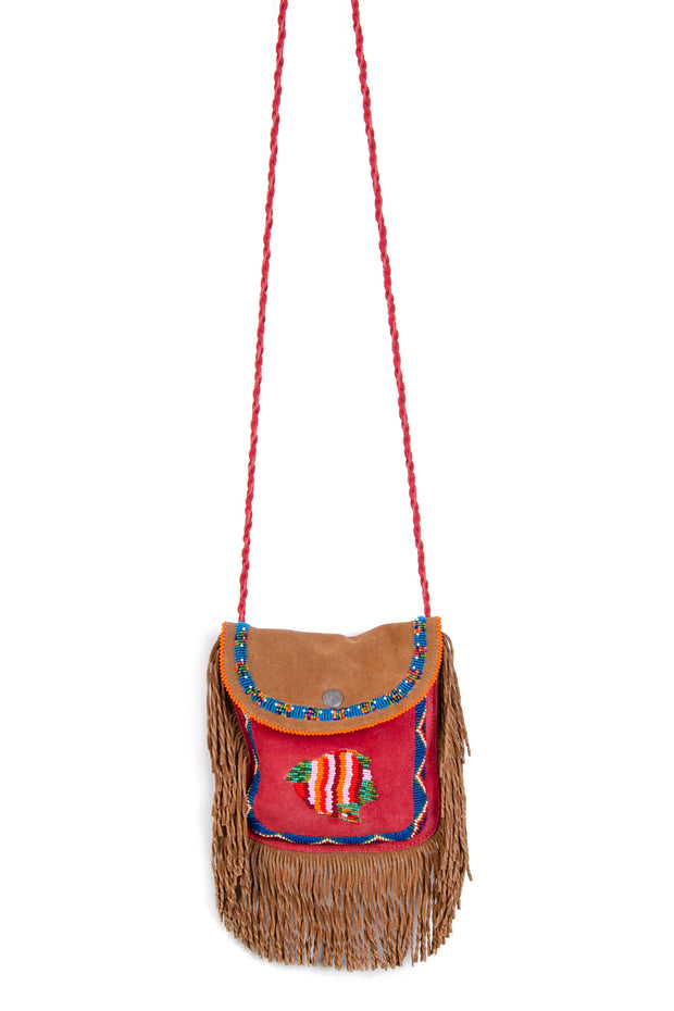 B&R - Rose Beaded Bag in Red/brown (BR#5)