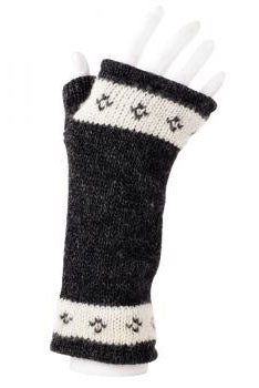 Wool Handwarmers in Black/off-white