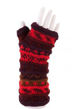 Striped Wool Fingerless Glove