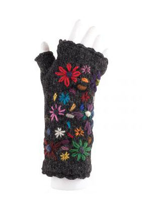 Flower Knit Handwarmers in Black