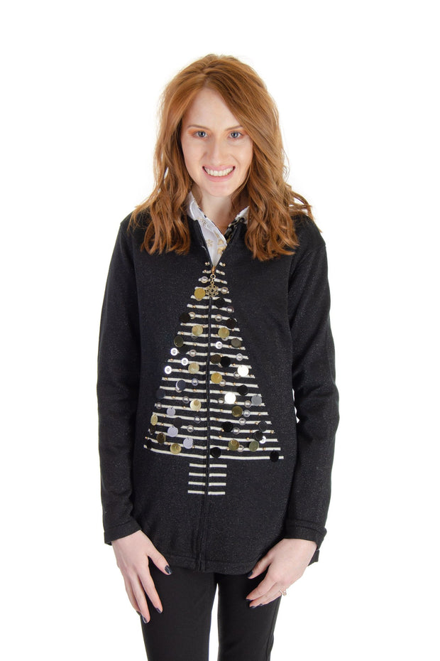 Berek - Christmas Tree Sweater in Black (J097153)