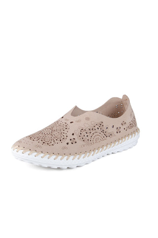 Bernie Mev - Cut Work Leather Slip-on in Nude (TW09)