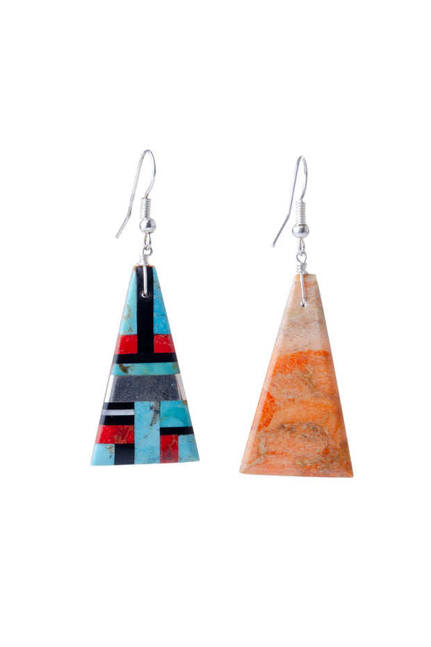 Artisan Collection - Triangular Multi-stone Earrings in Turquoise/multi (0516)