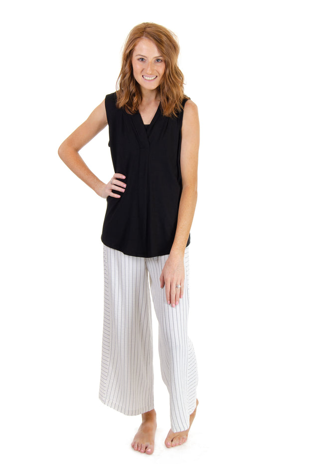 Striped Ruched Waist Crop Pant