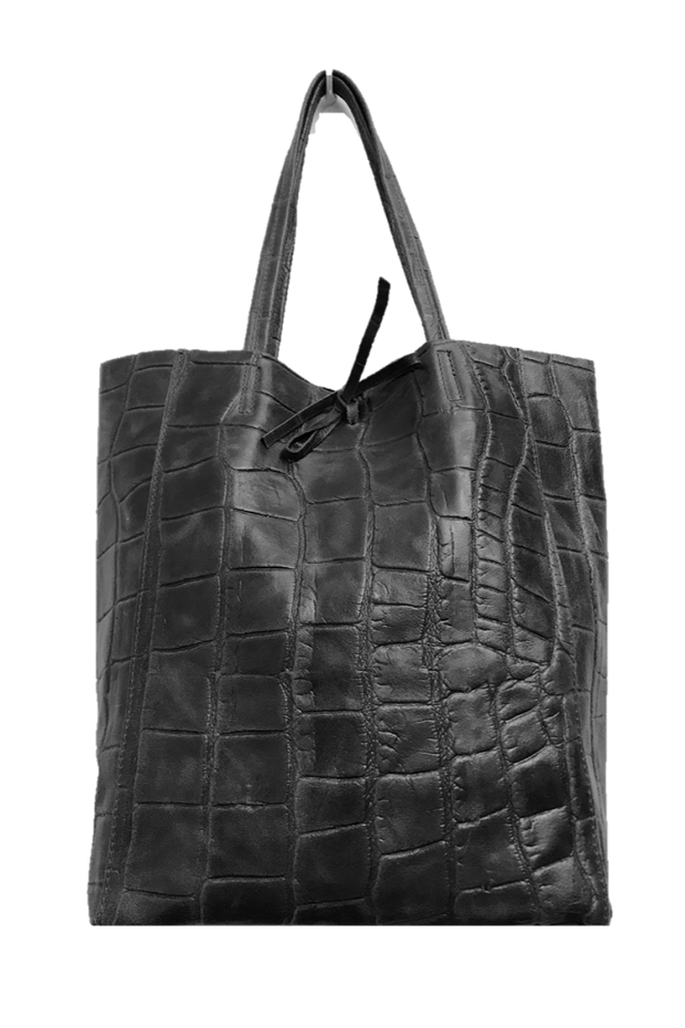 Jijou Capri - Crocodile Basic Leather Tote (Diou) Black