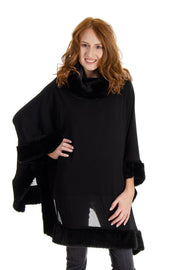 Capote - Mixed Fabric Poncho w/ Faux Fur Trims in Black (Queen94)
