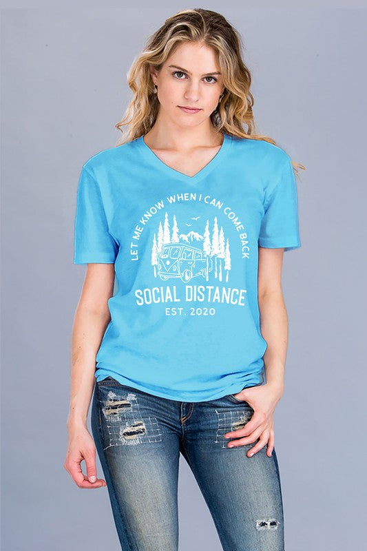 Social Distance Graphic Tee in Turquoise