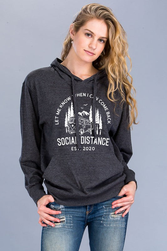 Social Distance Graphic Hoodie in Charcoal/white