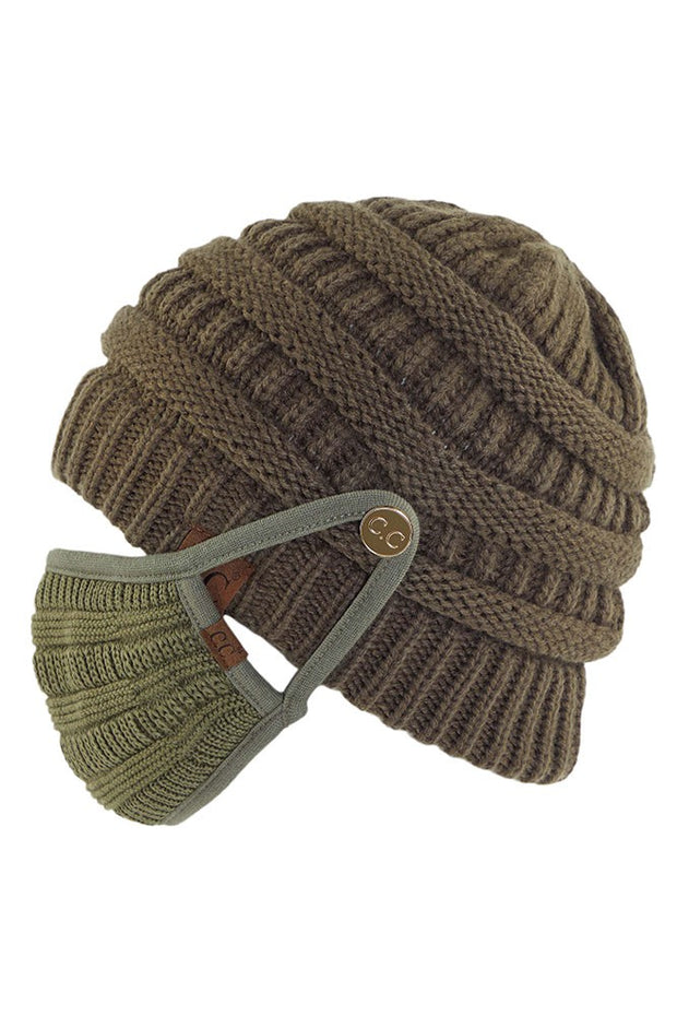 Knit Beanie with Mask Buttons