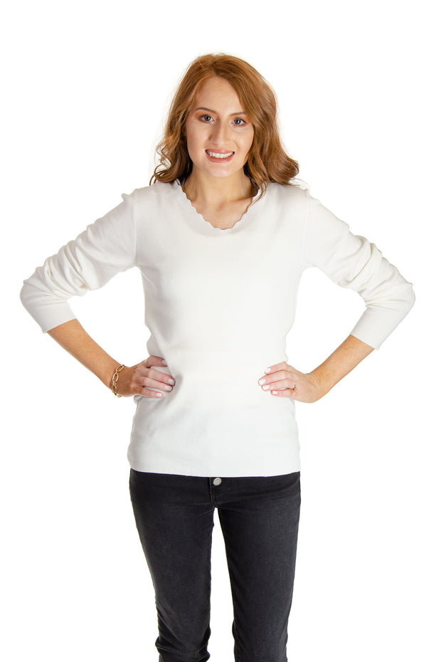 Charlie B - Scallop Neck Sweater in Cream (C2301R-497A)