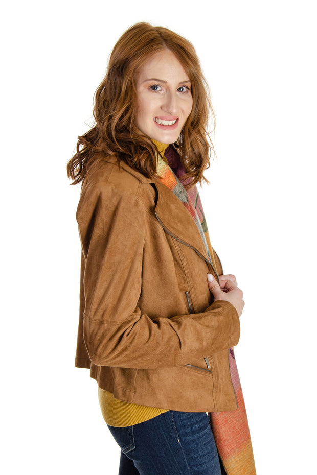 Charlie B - Suede Moto Jacket in Camel (C6100L-526A)