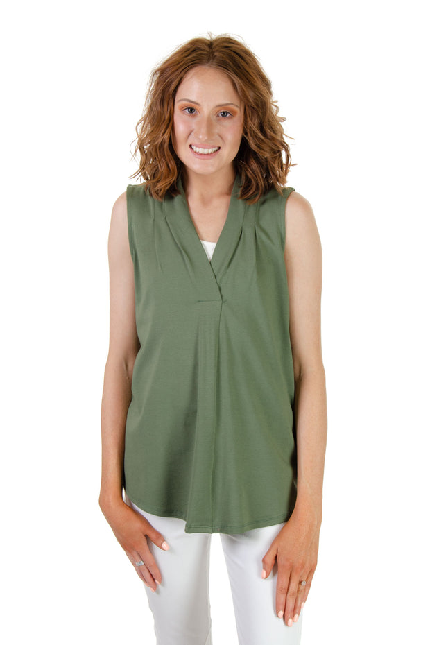 Cupio - Sleeveless V-neck Top in Olive (CU1D596)