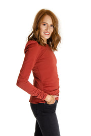 Cupio - Ruched Long-sleeve Top in Autumn Amber (CU1E021)
