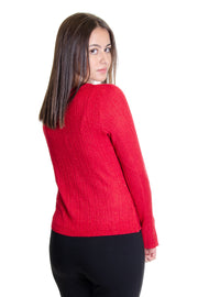 Cupio - Twist Front Sweater w/ Metallic Fiber in Crimson (CU35112)
