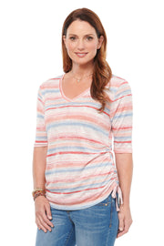Striped Tee in Pink Multi