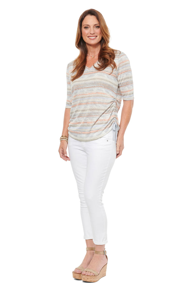 Striped Tee in Taupe Multi