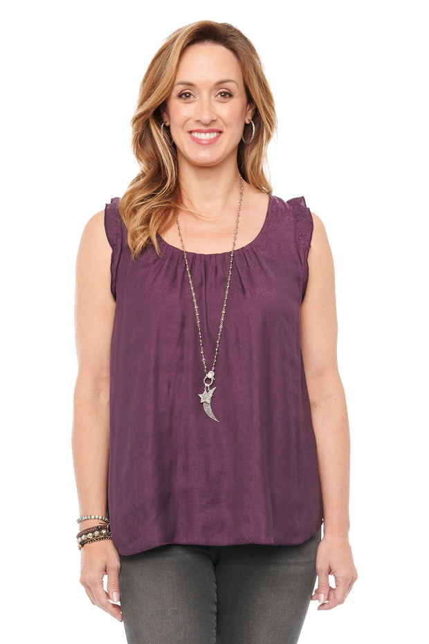 Layered Ruffle Tank in Concord Grape